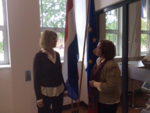 Mairead Maguire & Madeleine Infeldt (Deputy Head EU Commission ) at The Hague