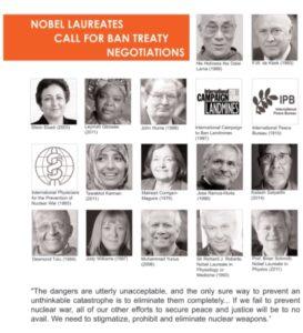 Nobel Laureates call for ban treaty negotiations