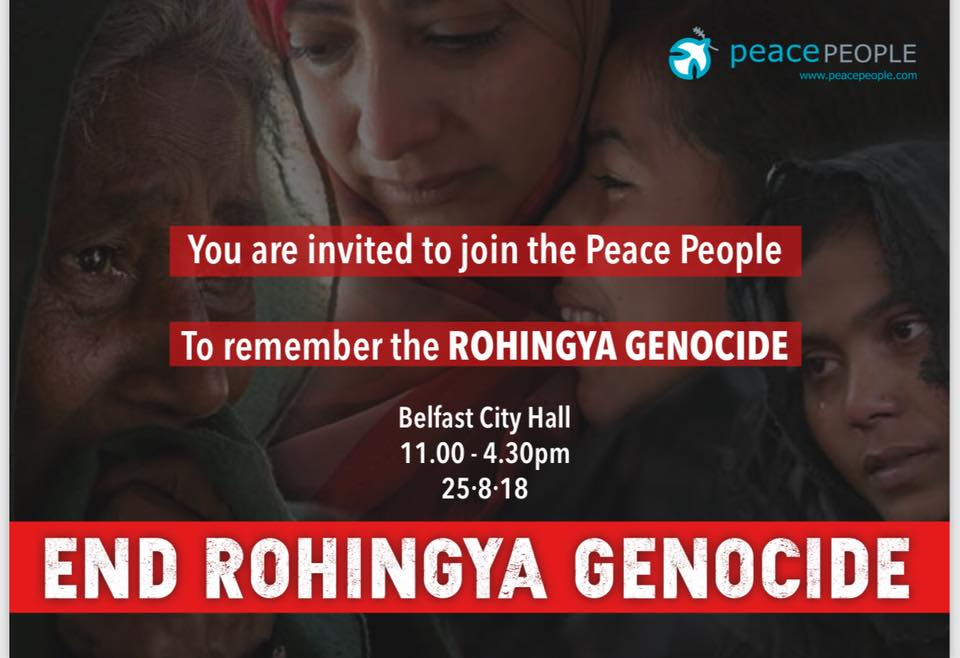 WE INVITE YOU TO JOIN US ON SATURDAY 25TH OF AUGUST AT BELFAST CITY HALL TO REMEBER – ROHINGYA GENOCIDE DAY!! ALL WELCOME & PLEASE SHARE